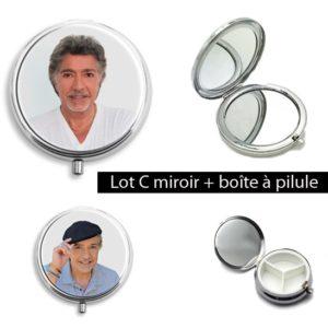 Lot C : 1 Miroir t-shirt blanc + 1 pilulier chemise bleue